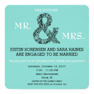Mr And Mrs To Be Engagement Dinner Shower Party Invitation