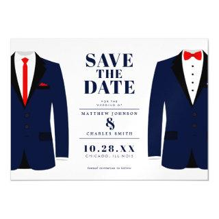 Mr. & Mr. Modern Wedding Navy Tux - Save the Date Magnetic Invitations