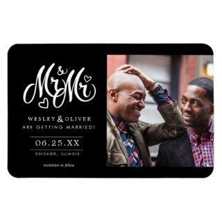 Mr. & Mr. Script - Save the Date with Photo Magnet