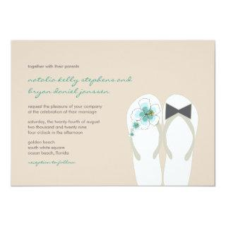 Mr & Mrs Blue Hibiscus Flip Flops Beach Wedding Invitation