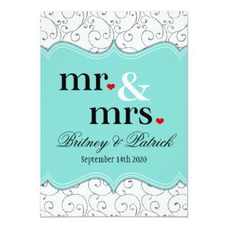 Mr & Mrs Blue Wedding Invitations