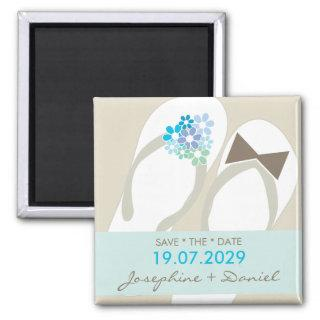Mr & Mrs Flip Flops Beach Wedding Save The Date Magnet