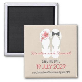 Mr & Mrs Flip Flops Hibiscus Wedding Save The Date Magnet