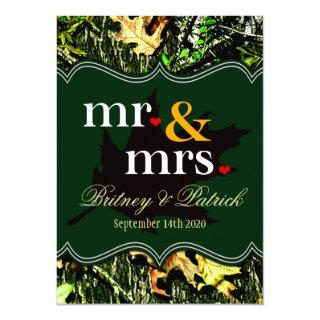 Mr & Mrs Hunting Camo Green Wedding Invitations
