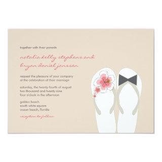 Mr & Mrs Pink Hibiscus Flip Flops Beach Wedding Invitations