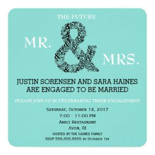 Mr & Mrs To Be Engagement Bridal Shower Party Invitations