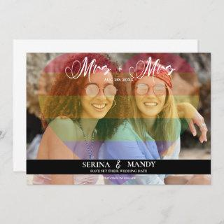 Mrs and Mrs LGBTQ Transparent Heart Photo Overlay Save The Date