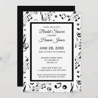 Music Notes Musical Theme Bridal Shower Invitations