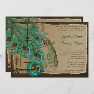 Musical Peacock Bird Cage Feather Burnt Parchment Invitation