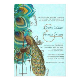 Musical Peacock Bird Cage Feather Wedidng Invitate Invitations