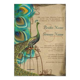 Musical Peacock Bird Cage Feather Wedidng Invites