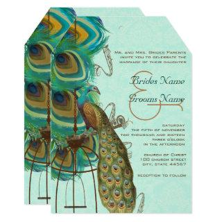 Musical Peacock Birdcage Feather Wedding Invitations