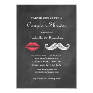 Mustache & Lips Couple's Shower Invitations