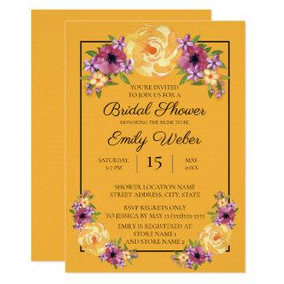 Mustard Yellow Floral Bridal Shower Invite