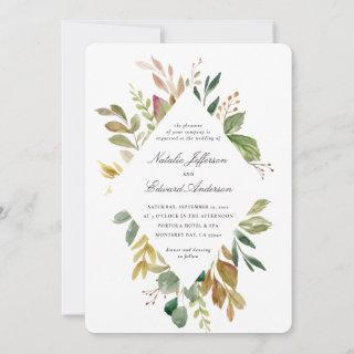Muted green, brown and gold foliage wedding