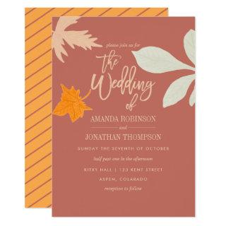 Muted orange Fall Autumn Wedding Invitations