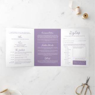 Muted purple white little heart wedding all-in-one Tri-Fold invitation
