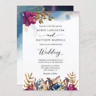 Mystic Garden Purple, Blue, Teal and Gold Wedding Invitations