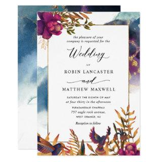 Mystic Garden Purple, Teal, Blue and Gold Wedding Invitations