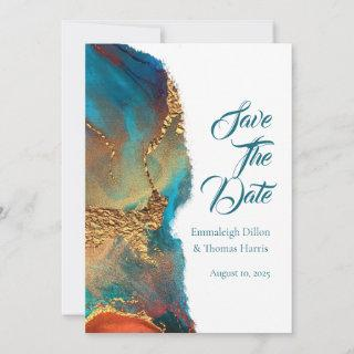 Mystical Abstract Teal Coral Gold Save The Date