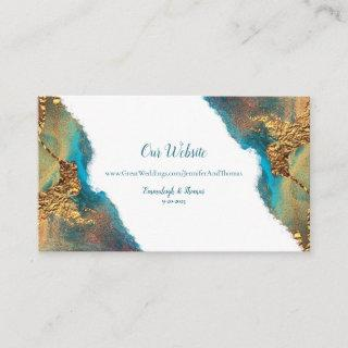 Mystical Abstract Teal Coral Gold Website Enclosure Card