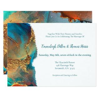 Mystical Abstract Teal Coral Gold Wedding Invitations