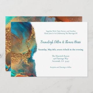 Mystical Abstract Teal Coral Gold Wedding Invitation