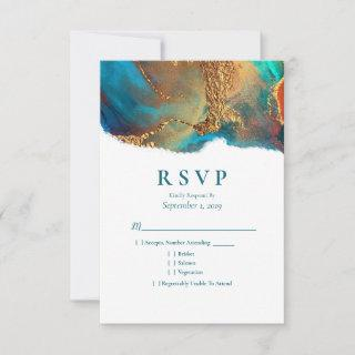 Mystical Abstract Teal Coral Gold Wedding RSVP