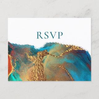 Mystical Abstract Teal Coral Gold Wedding RSVP Invitations Postcard