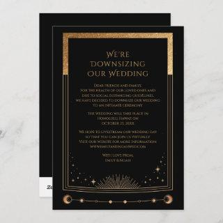 Mystical Black Gold We're Downsizing Our Wedding Holiday Card