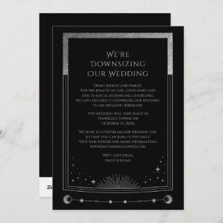 Mystical Black Silver We're Downsizing Our Wedding Holiday Card