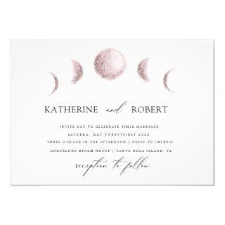 mystical moon phases blush pink Wedding Invitations