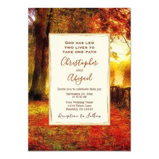 Nature Path Autumn Leaves Fall Christian Wedding Invitations