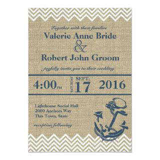 Nautical Anchor Chevron Wedding Invitations