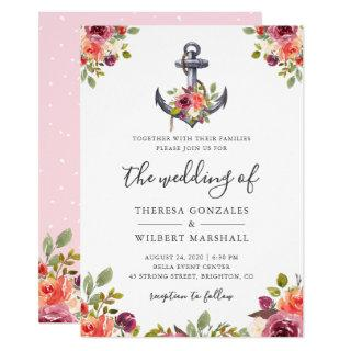 Nautical Anchor Chic Watercolor Floral Wedding Invitation
