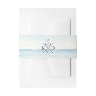 Nautical Anchor Monogram Watercolor Ocean Invitation Belly Band