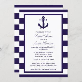 Nautical Anchor Navy Stripe Bridal Shower Invitations