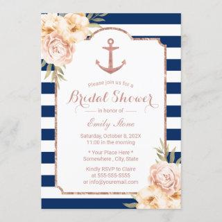 Nautical Anchor Vintage Floral Navy Bridal Shower Invitation