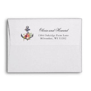 Nautical Anchor Watercolor Floral Knot 5x7 Envelope
