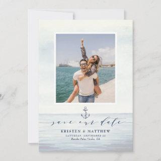 Nautical Anchor Watercolor Ocean Scene Photo Save The Date