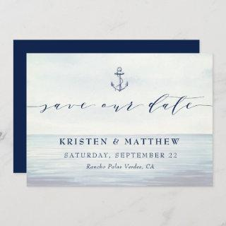 Nautical Anchor Watercolor Ocean Scene  Save The Date