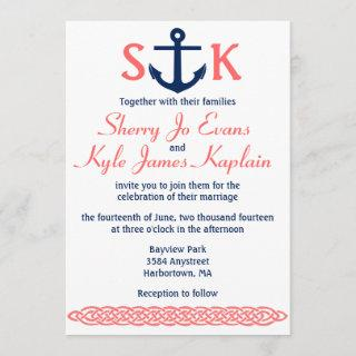 Nautical Anchor Wedding Invitations Navy and Coral