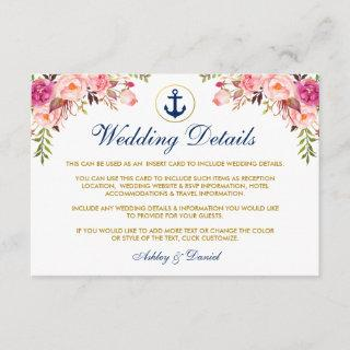 Nautical Blue Wedding Floral Details Insert Card