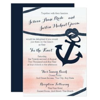 Nautical Blush and Navy Rope and Anchor Wedding Invitations