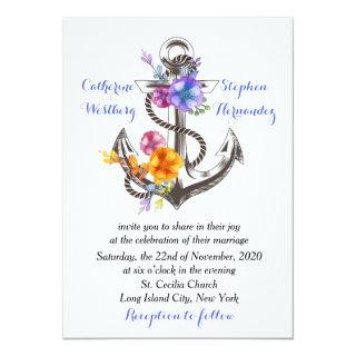Nautical Boat Anchor Floral Blue Wedding Invitation