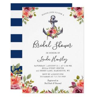 Nautical Bridal Shower Navy Stripes Anchor Floral Invitations