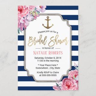 Nautical Bridal Shower Pink Floral Navy Stripes Invitation