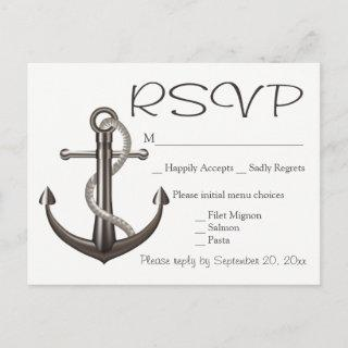 Nautical Brown RSVP Ship Anchor Wedding Beach Invitation Postcard