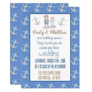 Nautical Cartoon Blue White and Gold Wedding Invitations