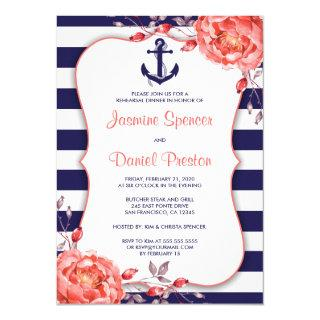 Nautical Coral Navy Rehearsal Dinner Invitations